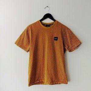 Huf Striped Tee Shirt Logo Skate Streetwear Crew L